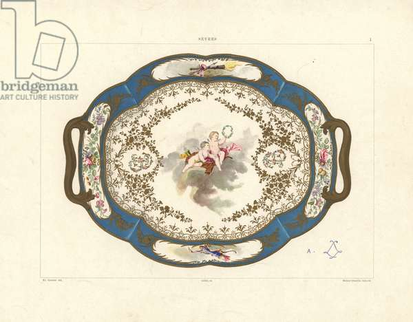 Plate decorated with cupids and roses painted by Asselin. Mark of Madame du Barry, last mistress to Louis XV. Mrs. du Barry's figure tray, painting by Asselin. Chromolithograph by Gillot of an illustration by Edouard Garnier from The Soft Paste Porcelain of Sevres, Maison Quinn, Paris, 1891.