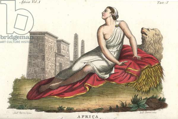 Allegorical representation of Africa, showing a woman lying on a blanket on top of a lion and bushel of wheat, with hieroglyph-covered buildings and columns in the background. Handcoloured copperplate engraving by Andrea Bernieri after an illustration by Andrea Appiani from Giulio Ferrario's Costumes Antique and Modern of All Peoples (Il Costume Antico e Moderno di Tutti i Popoli), 1843.