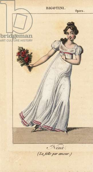 The ballerina Emilie Bigottini 1784-1858 dancing in the opera Nina, o sia la pazza per amore (Nina or the girl driven mad by love) by Giovanni Paisiello at the Opera Theatre, Paris, 1816. Handcoloured copperplate engraving from Charles Malo's Almanach des Spectacles by K. and Z, Chez Janet, Paris, 1818.