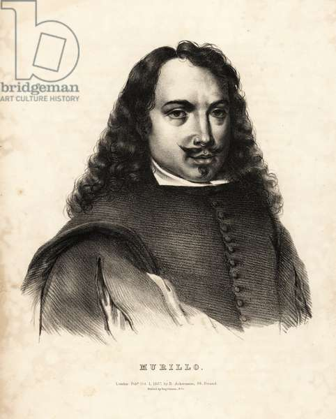 Bartolome Esteban Murillo, Spanish Baroque painter, 1618-1682. Lithograph after a drawing by HVH from Portraits of the most celebrated painters of all the schools, Ackermann, London, 1827.