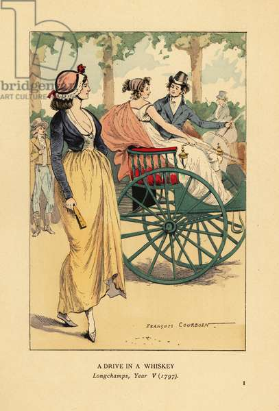 Fashionable couple driving in a one-horse whiskey carriage or gig in Longchamps, Paris, Year V, 1797. Woman in bonnet, spencer jacket over low-cut dress. Handcoloured lithograph by R.V. after an illustration by Francois Courboin from Octave Uzanne's Fashion in Paris, William Heinemann, London, 1898.