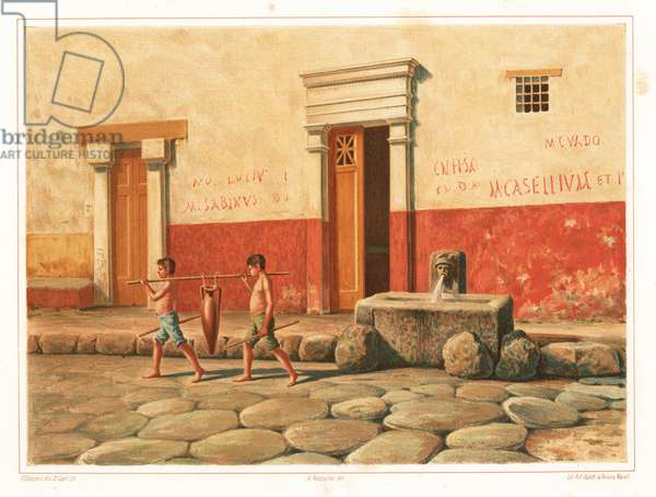 Street scene showing the fountain of Mercury, VI.8.24, Pompeii. Two slave boys carry an amphorae of water. The walls are covered with graffiti such as M. Sabinus and M. Casellium. Chromolithograph by D. Capri after an illustration by G. Discanno from Antonio Niccoliniõs Pompeii: Views and Restorations (Pompeii: Essaies et Restorations), published by Zucchi & De Luca, Naples, 1898. Antonio was grandson of the architect Antonio Niccolini Sr.