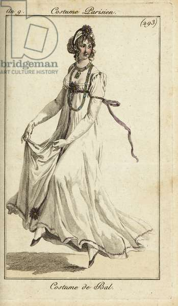 Fashionable woman dancing in a ball gown, 1801 (handcoloured copperplate engraving)