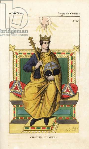 """Charles the Bald, King of West France, Italy, and Holy Roman Emperor, 823. Handcoloured copperplate drawn and engraved by Leopold Massard from """""""" French Costumes from KingClovis to Our Days,"""""""" Massard, Mifliez, Paris, 1834."""