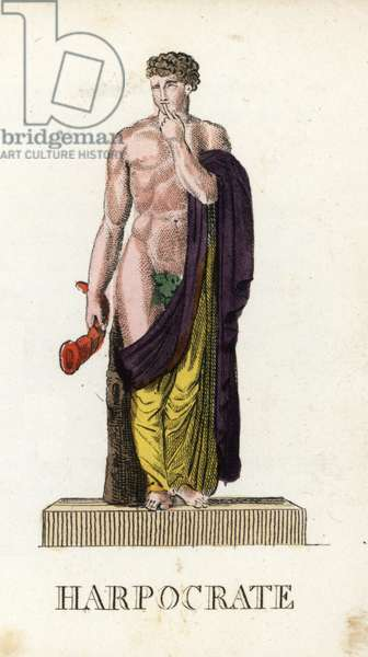 "Ancient mythology: Harpocrates, deity of silence and mysteres, holding a horn and carrying his finger in his mouth - Eau forte by Jacques Louis Constant Lacerf, after an illustration by Leonard Defrance (1735-1805), extracted from mythology in fabulous prints or divine figures, circa 1820 - Harpocrates, Greek and Roman god of silence, with finger to his lips, holding horn and wearing a figleaf - Handcoloured copperplate engraving engraved by Jacques Louis Constant Lacerf after illustrations by Leonard Defrance from ""Mythology in Prints or Figures of Fabled Gods"", Chez P. Blanchard, Paris, c 1820"
