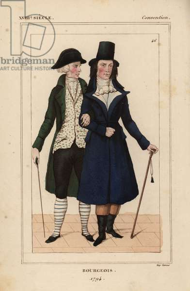 Bourgeois men, 1794, French National Convention era. Old man in the ancien style, and young man in the revolutionary style with white vest a la Robespierre. Handcoloured lithograph from Le Bibliophile Jacob aka Paul Lacroix's Costumes Historique de la France (Historical Costumes of France), Administration de Librairie, Paris, 1852.