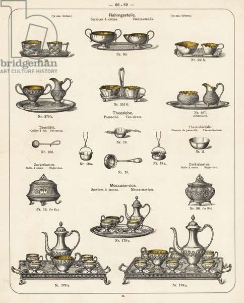 Cream stand, tea strainer, tea tray, mocca service, sugar box, etc. Lithograph from a catalog of metal products manufactured by Wuerttemberg Metalware Factory, Geislingen, Germany, 1896.- Catalogue de produits metalliques fabriques par Wuerttemberg Metalware Factory, Geislingen, Germany, 1896 -