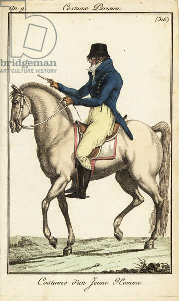 Fashionable young man or Incroyable on horseback, 1801 (handcoloured copperplate engraving)
