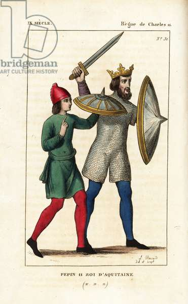"""Pepin II, the Younger, King of Aquitaine, 823. Handcoloured copperplate drawn and engraved by Leopold Massard from """""""" French Costumes from KingClovis to Our Days,"""""""" Massard, Mifliez, Paris, 1834."""