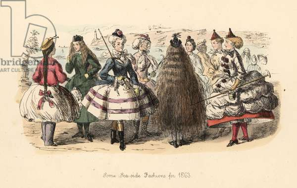 Some Sea-Side Fashions for 1863. Victorian ladies in short hooped skirts and tiny bonnets, wearing riding boots, bloomers and shoes, holding walking sticks. Handcoloured etching by John Leech from Follies of the Year, from Punchõs Pocket Books, Bradbury, London, 1864.
