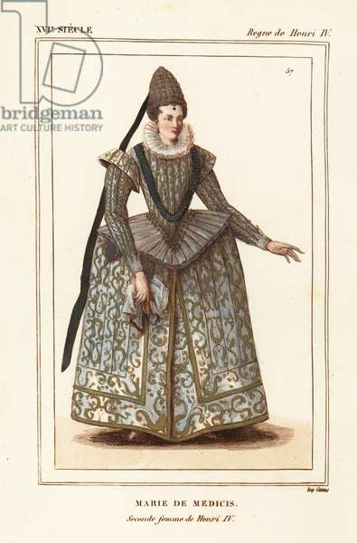 Marie de Medici, second wife of King Henry IV of France. Handcoloured lithograph after a contemporary print of the wedding from Le Bibliophile Jacob aka Paul Lacroix's Costumes Historique de la France (Historical Costumes of France), Administration de Librairie, Paris, 1852.