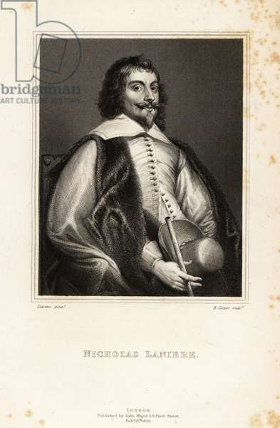 Portrait of Nicholas Laniere, English composer, Master of the King's Music, musician, collector, etcher and art adviser, 1588-1666