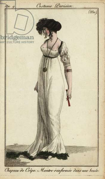Fashionable woman or Merveilleuse in crepe hat, 1801 (handcoloured copperplate engraving)