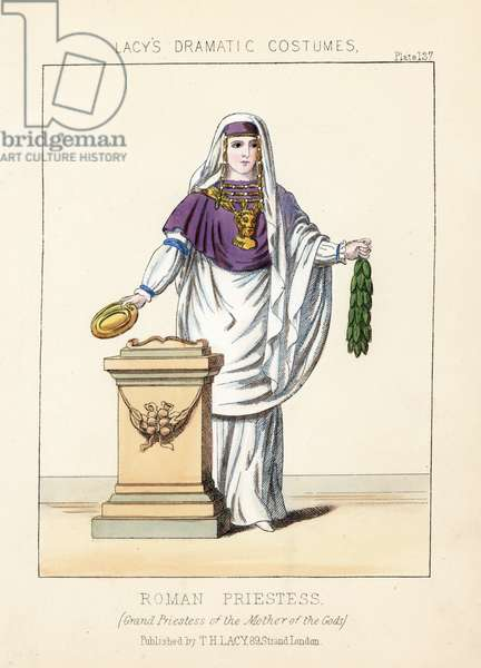 "Roman priestess, grand priestess Cybele, Mother of the Gods. Handcoloured lithograph from Thomas Hailes Lacy's """" Female Costumes Historical, National and Dramatic in 200 Plates,"" London, 1865. Lacy (1809-1873) was a British actor, playwright, theatrical manager and publisher."