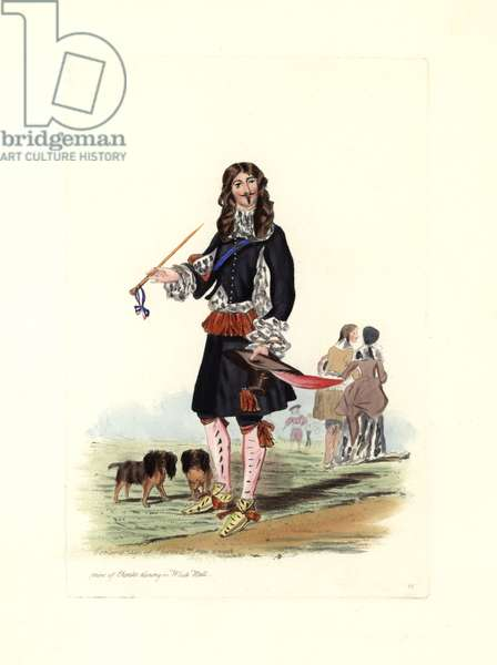 """King Charles II (1630-1685) with his spaniels, he wears a black coat cut to show up a puffy linen shirt, pink stockings, ribbon shoes and he holds a long pipe. From an engraving by young Charles dinant at White Hall (London, England), by Antonie Van Dyck (1599-1641). Lithograph by Charles Martin, engraving by Leopold Martin, published in """""""" Costumes civils d'Angleterre depuis la conquete au nos jours"""", 1842, London."""