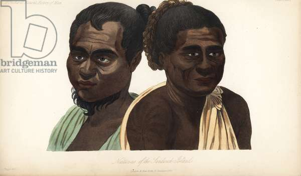 """Natives of the Sandwich Islands (Hawaii), 19th century. Copied from Louis Choris '"""" Picturesque Journey."""""""" Handcoloured lithograph by J. Bull from James Cowles Prichard's Natural History of Man, Balliere, London, 1855."""