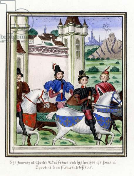 The journey of Charles VI of France, known as the Bien Aime or Le Fol (1368-1422) and his brother Louis I of Orleans, Duke of Touraine (1372-1407), from Montpellier to Paris, for a bet - Lithography after the enluminated manuscript of the Chronicles (1322 to 1400) by Jean (Jehan) Froissart (1337-1404), 1868 The journey of Charles VI of France and his brother Louis I of Orleans, Duke of Touraine, from Montpelier to Paris for a wager - Handcoloured lithograph after an illuminated manuscript from Sir John Froissart's Chronicles, London, 1868