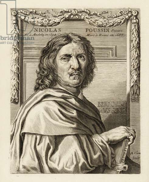 Portrait of Nicolas Poussin, leading painter of the classical French Baroque style, 1594-1665 He holds a book with De