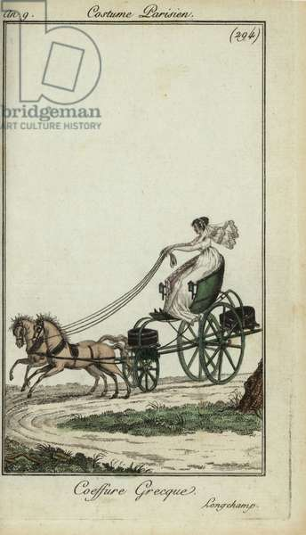 Woman in a Greek hairstyle driving a carriage at Longchamp, 1801 (handcoloured copperplate engraving)
