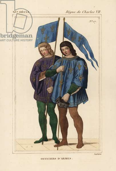 Heralds or officers of arms, herauts or officers of arms, 15th century. They wear coats of arms with gold fleur-de-lis and carry ensigns with the arms of France. Handcoloured lithograph by Leopold Massard after a miniature in the manuscript Chronicles de Monstrelet (Nicolas Xavier Willemin II 183) from Le Bibliophile Jacob aka Paul Lacroix's Costumes Historique de la France (Historical Costumes of France), Administration de Librairie, Paris, 1852.