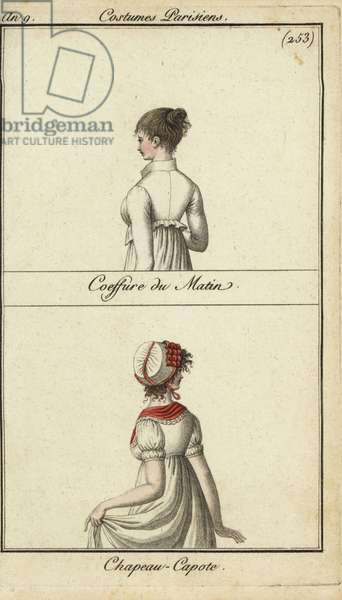 Fashionable hairstyle and hat, Paris, 1800 (handcoloured copperplate engraving)