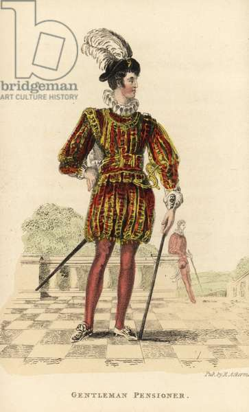 Gentleman Pensioner, a corps of 40 royal guardsmen at court. In a uniform of doublet, ruff and hose adopted by King George IV based on a design from the reign of King James I. Handcoloured copperplate engraving from William Henry Pyne's The World in Miniature: England, Scotland and Ireland, Ackermann, 1827.