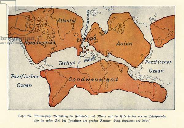 Map of the continents and seas in the Upper Triassic.