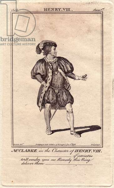 """Portrait of actor Matthew Clarke in the role of Henry VIII dazns the piece of the same name by William Shakespeare (1564-1616). Clarke has spent more than 30 years in Covent Garden, London. Drawing by James Roberts, engraving published in """""""" Bell's Shakespeare"""""""", John Bell, 1776, London, England."""