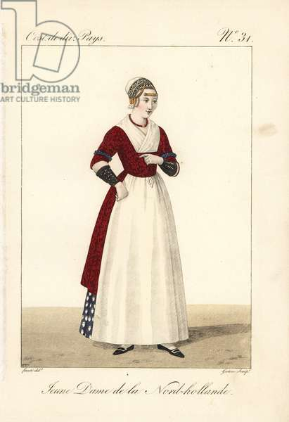 Young girl of North Holland, Netherlands, 19th century. In distinctive embroidered cap with gold plates called willow leaves attached by wire corkscrews, floral cotton camisole, arm protectors, silk apron and skirt. Handcoloured copperplate engraving by Georges Jacques Gatine after an illustration by Louis Marie Lante from Costumes of Various Countries, Costumes de Divers Pays, Paris, 1827.