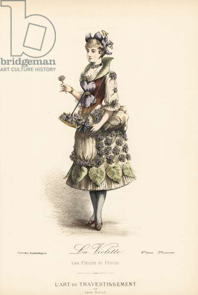 "Fancy dress costume for a violet flower seller, with flower hat, bodice and skirt decorated with violet flowers and leaves. Handcoloured lithograph after a design by Leon Sault from """" L'Art du Travestissement"" (The Art of Fancy Dress), Paris, c.1880. Sault was a theatre and opera designer and luxury fashion magazine publisher."