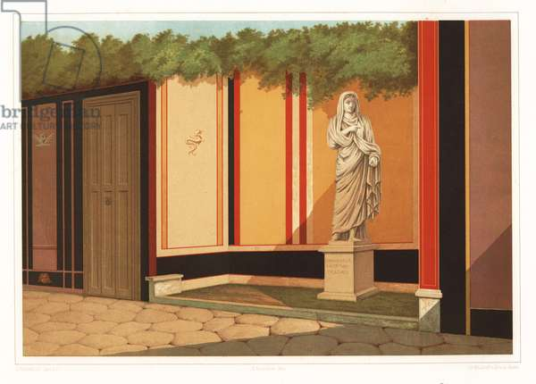 Statue of public priestess and matron of the fullers Eumachia. From the building of Eumachia on the east side of the Forum, Pompeii. Eumachiae L F Sacer Publ Fullones. Chromolithograph by D. Capri after an illustration by V. Mollame from Antonio Niccoliniõs Pompeii: Views and Restorations (Pompeii: Essaies et Restorations), published by Zucchi & De Luca, Naples, 1898. Antonio was grandson of the architect Antonio Niccolini Sr.