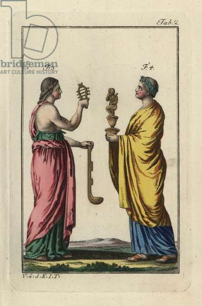 "Egyptian woman with sacred sistrum rattle and simpulum ladle, and priestess with statue of Harpocrates, the god of silence. Handcolored copperplate engraving from Robert von Spalart's """" Historical Picture of the Costumes of the Principal People of Antiquity and of the Middle Ages"""" (1796)."