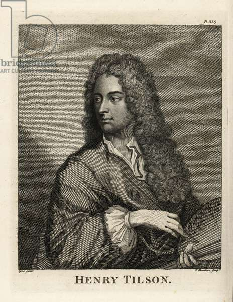 Portrait of Henry Tilson, Englsih portrait painter with brush and palette, 1659-1695