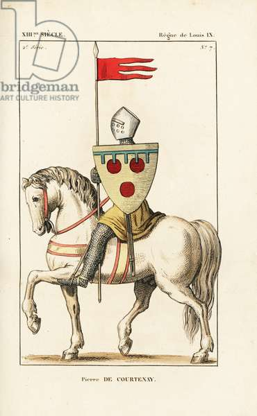 """Pierre de Courtenay (ca. 1165-1219) or Peter II of Courtenay, Emperor of Constantinople. He wears a helm, suit of chainmail, sleeveless tunic, and is mounted on a white horse. He holds the oriflame and escutcheon with his blazon (coat of arms): three red roundels on a gold field with blue label. Handcoloured copperplate drawn and engraved by Leopold Massard from """""""" French Costumes from KingClovis to Our Days,"""""""" Massard, Mifliez, Paris, 1834."""