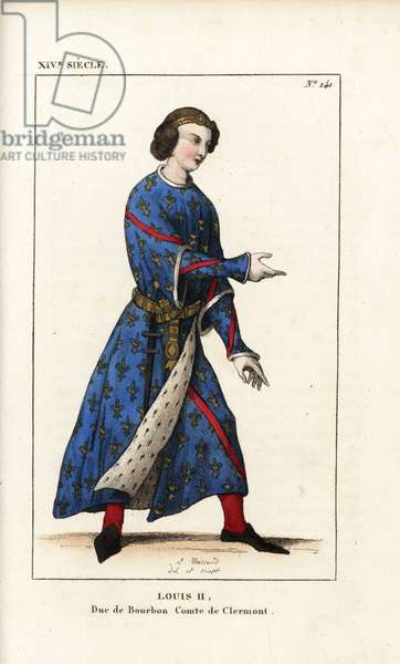 """Louis II, Duke of Bourbon, Count of Clermont, 1337-1410. He wears a gold diadem, coat of arms robe, azure, gold fleurs de liys, red band, lined with ermine. Handcoloured copperplate drawn and engraved by Leopold Massard from """""""" French Costumes from KingClovis to Our Days,"""""""" Massard, Mifliez, Paris, 1834."""