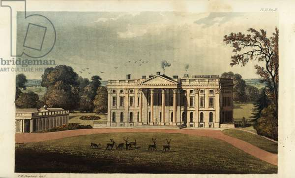 Moor Park, Hertfordshire, the seat of Robert Williams, 1825. Built in the Palladian style by surveyor Sir James Thornhill from designs by Giacomo Leoni and gardens by Capability Brown. Handcoloured copperplate engraving after an illustration by T.H. Shepherd from Rudolph Ackermann's Repository of Arts, London, 1825.