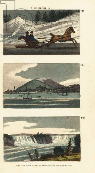 Inhabitants of Quebec riding a horse-drawn cariole or sledge on ice 70, view of Montreal 71, and view of Niagara Falls 72