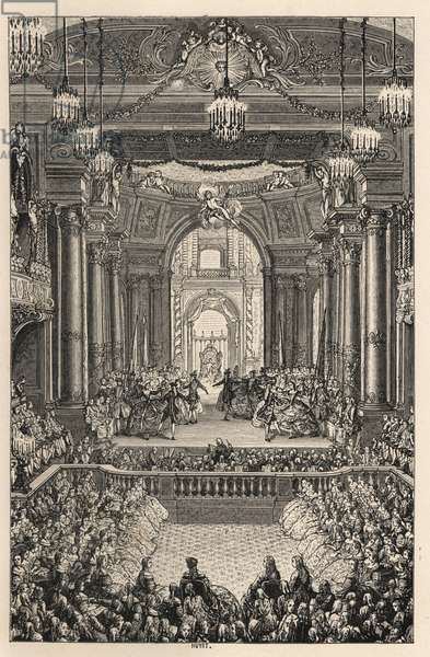 Performance of the comedie-ballet Princess of Navarre by Voltaire and Jean Philippe Rameau, at the Palace of Versailles. Lithograph after Charles Nicolas Cochin from Paul Lacroix 'The Eighteenth Century: Its Institutions, Customs, and Costumes, London, 1876.