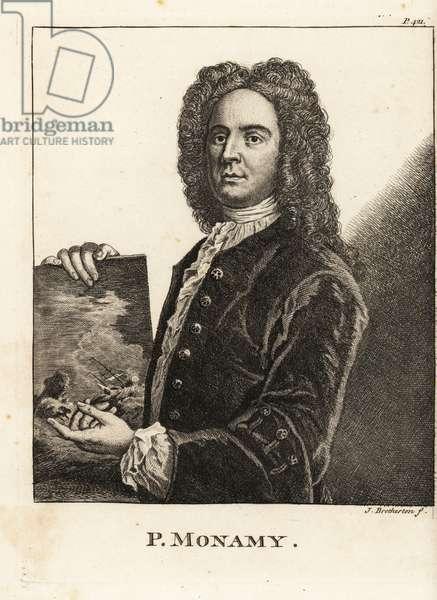 Portrait of Peter Monamy, English marine painter holding a maritime scene, 1681-1749