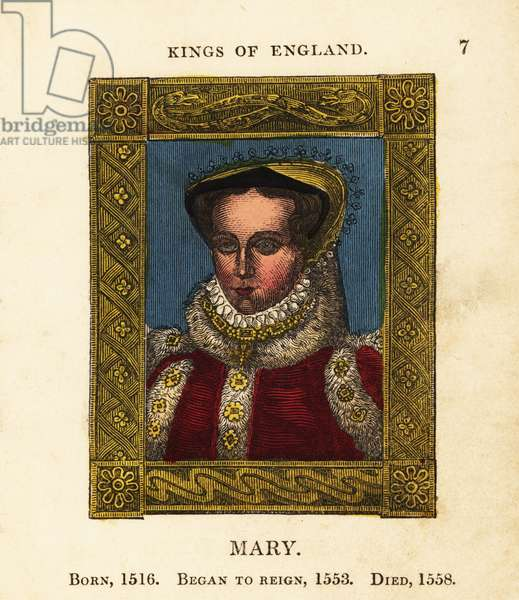 Portrait of Queen Mary of England, Mary Queen of Scots, Bloody Mary, born 1516, began reign 1553 and died 1558