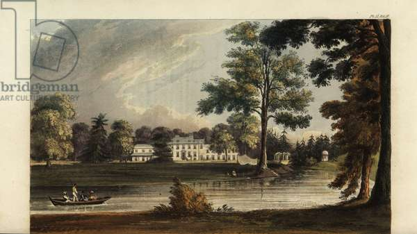 Stoke House, Windsor, seat of Egyptologist Richard William Howard Vyse, built by architect James Wyatt with gardens landscaped by Capability Brown. Handcoloured copperplate engraving after an illustration by John Gendall from Rudolph Ackermann's Repository of Arts, London, 1823.