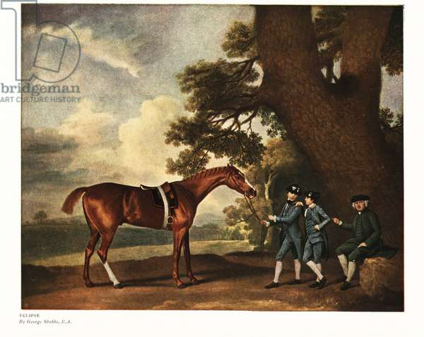 Eclipse, winner of 18 races. Portrait of the champion thoroughbred horse with grooms and trainer. From Stubbs Turf Gallery, 1796. Color print after a painting by George Stubbs in Ralph Nevill's Old Sporting Prints, The Connoisseur Magazine, London, 1908.