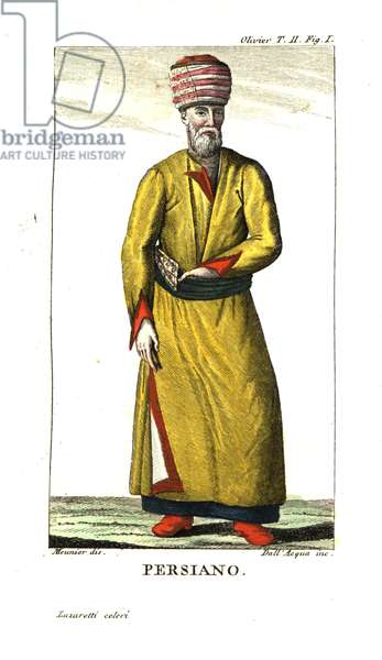 Persian man in summer dress. Illustration by Mounier from Guillaume Antoine Olivier (1756-1814) Travels in the Ottoman Empire, Egypt and Persia, 1801. Copperplate engraving by dell'Acqua handcoloured by Lazaretti from Giovanni Battista Sonzogno's Collection of the Most Interesting Voyages (Raccolta de Viaggi Piu Interessanti), Milan, 1815-1817