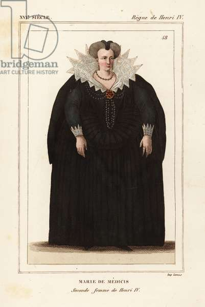Marie de Medici, second wife of King Henry IV of France. Handcoloured lithograph after a portrait in Roger de Gaignieres' gallery portfolio X 4 from Le Bibliophile Jacob aka Paul Lacroix's Costumes Historique de la France (Historical Costumes of France), Administration de Librairie, Paris, 1852.