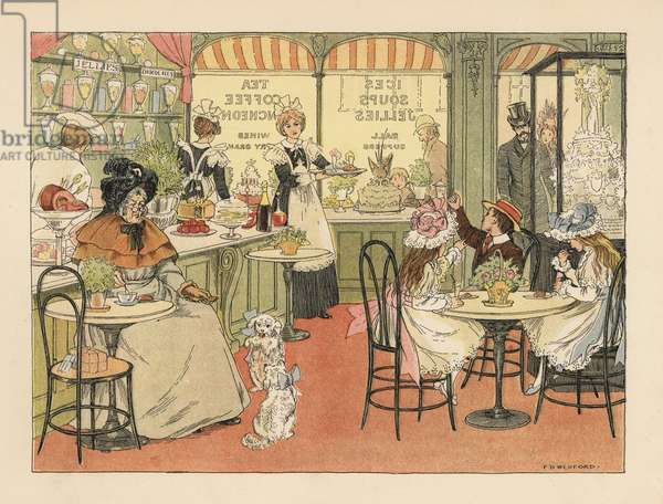 Victorian customers in a tea shop and confectioners. Chromolithograph after an illustration by Francis Donkin Bedford from Edward Verrall Lucas' The Book of Shops, 1899.