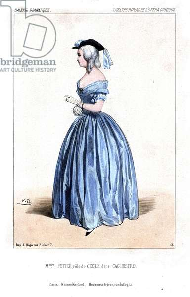 Opera singer Anne Suzanne Potier as Cecile in Cagliostro by Eugene Scribe, Theatre Royale de l'Opera Comique, 1844. Handcoloured lithograph after an illustration by Victor Dollet from Galerie Dramatique: Costumes des Theatres de Paris, Paris, 1844.