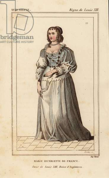 Marie-Henriette of France, sister of King Louis XIII, wife to King Charles I of England. Handcoloured lithograph by Breton after an original 1633 portrait from Le Bibliophile Jacob aka Paul Lacroix's Costumes Historique de la France (Historical Costumes of France), Administration de Librairie, Paris, 1852.