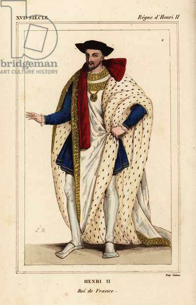 King Henry II of France in the costume of the Order of St. Michel. Henry II, King of France. Illustration drawn and lithographed by Leopold Massard from a miniature in Roger de Gaignieres' gallery portfolio VIII 92. From Le Bibliophile Jacob aka Paul Lacroix's Costumes Historique de la France (Historical Costumes of France), Administration de Librairie, Paris, 1852.