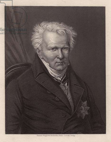 Portrait of Alexander Von Humboldt (Alexander of Humboldt, 1769-1859), German naturalist and explorer. Engraving by C.Cook, after a painting by Emma Gagiotti Richards, in Galerie de portraits par Charles Knight, 1835.