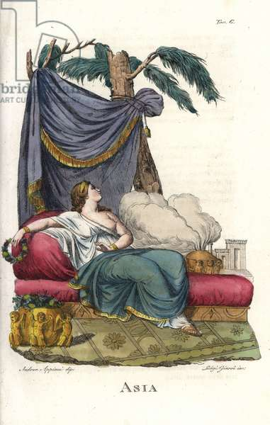 Allegorical depiction of Asia reclining on a bed, with a garland of flowers, and a bowl of incense smoking. Handcoloured copperplate engraving by Luigi Giarre after an illustration by Andrea Appiani from Giulio Ferrario's Ancient and Modern Costumes of all the Peoples of the World, 1843.